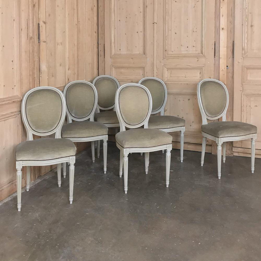 Set of 6 Antique French Louis XVI Dining Chairs