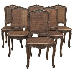 Set of 6 Antique French Regence Walnut Caned Dining Chairs