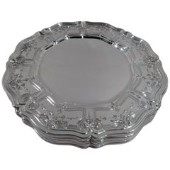 Set of 6 Antique Gorham Edwardian Rococo Sterling Silver Dinner Plates Chargers