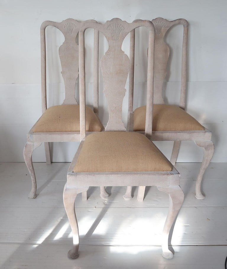 A super matching set of 6 dining chairs  Typical of the Gustavian chair they have the lovely urn shaped splat, the unadorned cabriole leg and the top rail with the shell detail  They have been recently limed to enhance the beautiful grain in the