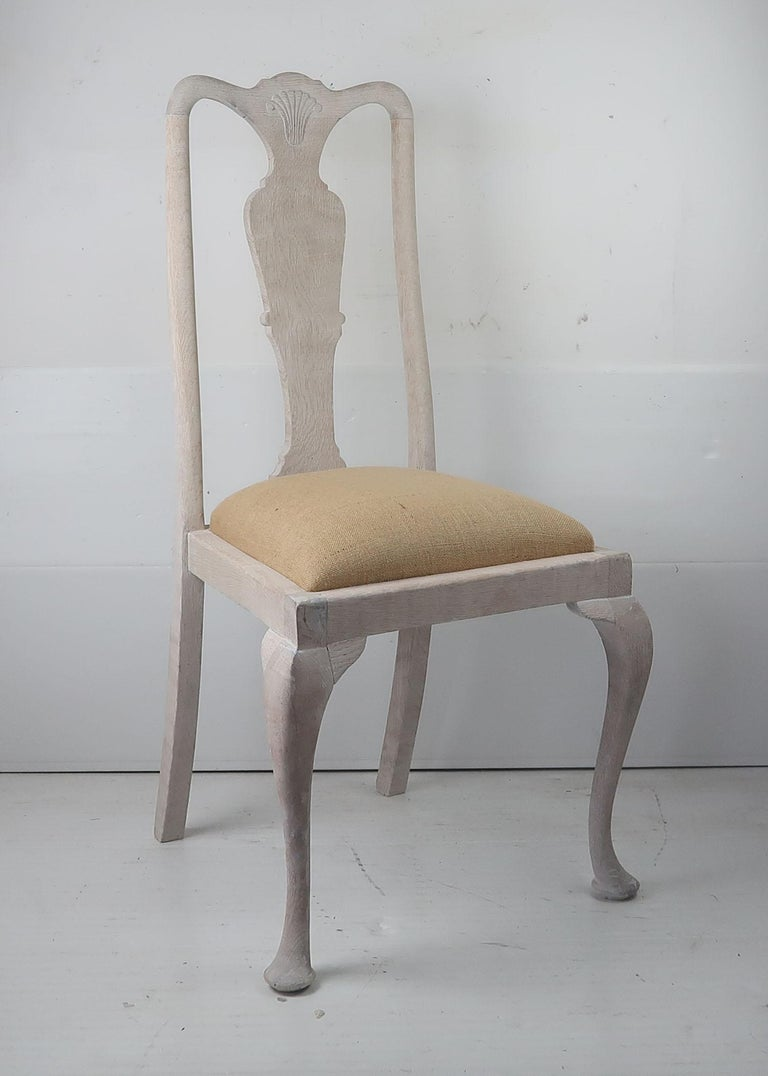 English Set of 6 Antique Gustavian Style Urn Back Dining Chairs with Shell Detail For Sale