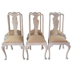 Set of 6 Antique Gustavian Style Urn Back Dining Chairs with Shell Detail