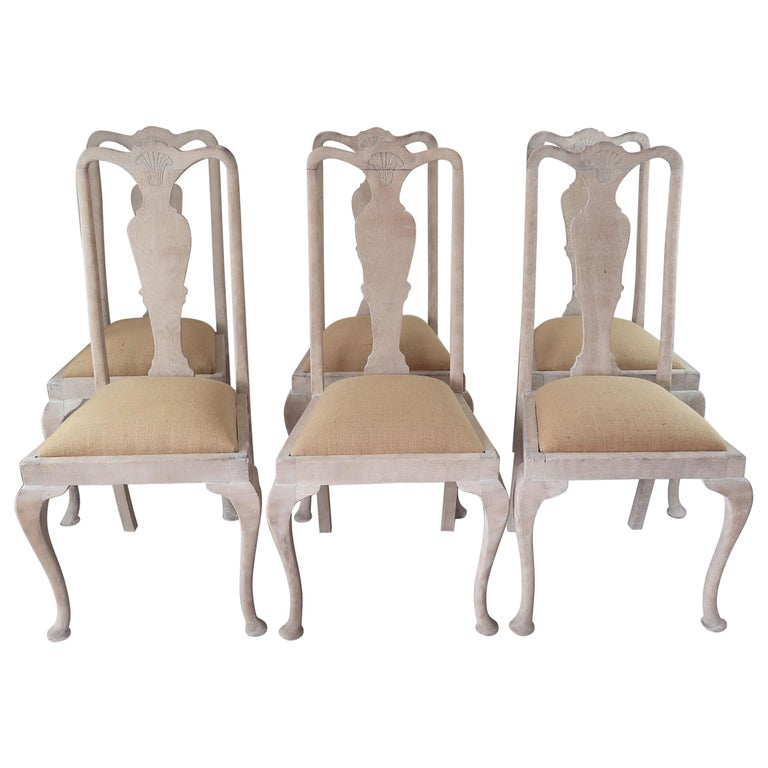 Set of 6 Antique Gustavian Style Urn Back Dining Chairs with Shell Detail For Sale