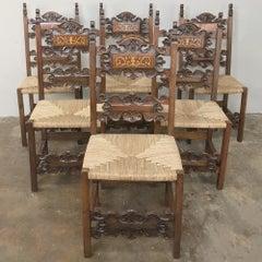 Set of 6 Antique Italian Baroque Inlaid Walnut Dining Chairs