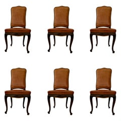 Set of 6 Antique Leather Dining Chairs with Grommets, Circa 1890-1910