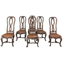Set of 6 Antique Lyre Back Queen Anne Dining Chairs