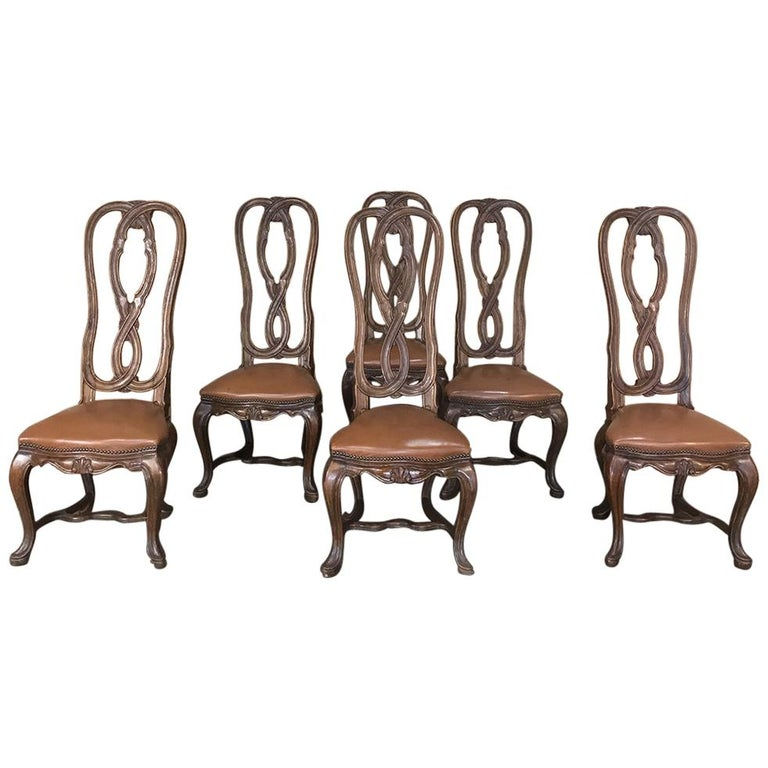 Antique Dining Room Chairs For Sale: Set Of 6 Antique Lyre Back Queen Anne Dining Chairs For