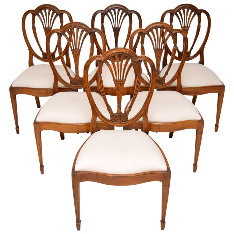 Set of 6 Antique Mahogany Sheraton Style Dining Chairs For ...