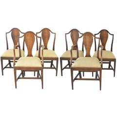 Set of 6 Antique Oak Country Hepplewhite Chairs, English, 18th Century
