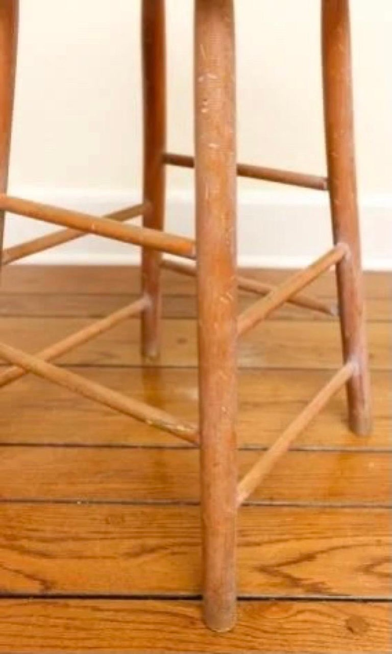 North American Set of 6 Antique Pine Counter Stools For Sale