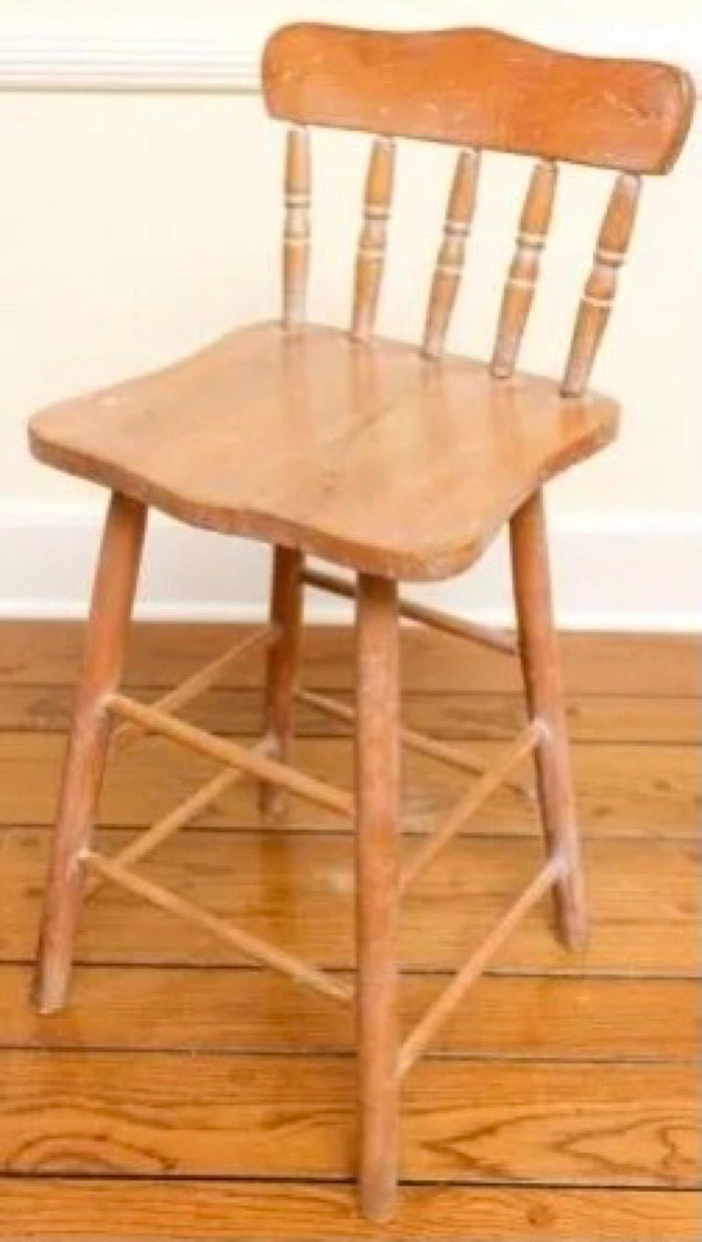 Set of 6 Antique Pine Counter Stools In Good Condition For Sale In Great Barrington, MA