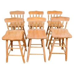 Set of 6 Antique Pine Counter Stools