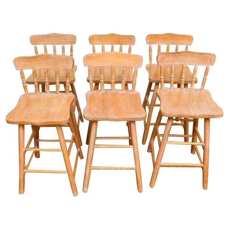 Set of 6 Antique Pine Counter Stools For Sale