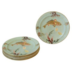 Antique Dinner Plates with Gold Fish and Coral Seashell Raised Relief Design