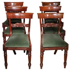 Set of 6 Antique Regency Dining Room Chairs