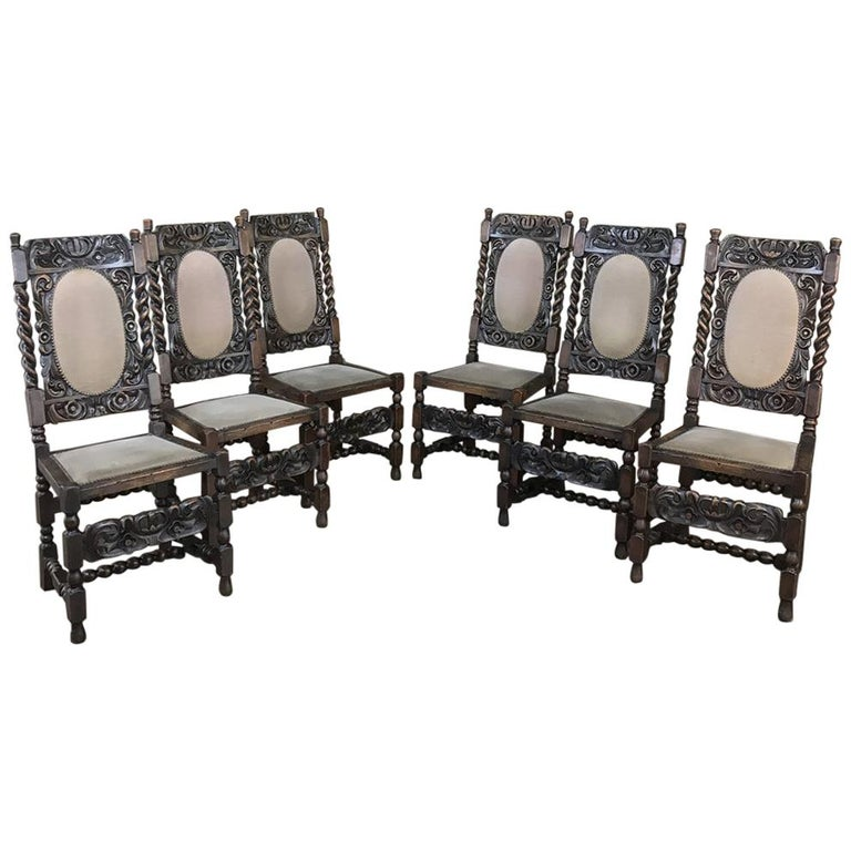 Excellent Set Of 6 Antique Renaissance Barley Twist Dining Chairs At Pabps2019 Chair Design Images Pabps2019Com