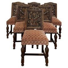 Set of 6 Antique Renaissance Revival Carved Dining Chairs