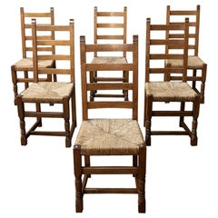 Set of 6 Antique Rustic Country French Dining Chairs