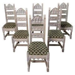 Set of 6 Antique Rustic French Gothic Whitewashed Dining Chairs