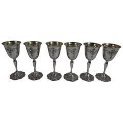 Set of 6 Antique Shreve Sterling Silver Goblets in Adam Pattern