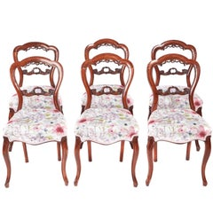 Set of Six Antique Victorian Walnut Dining Chairs