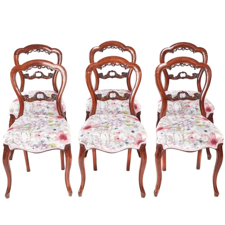 Set of Six Antique Victorian Walnut Dining Chairs For Sale