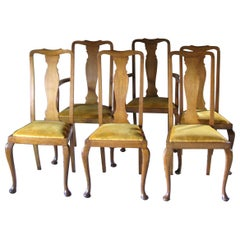 Set of 6 Antique Vintage Chairs, 1930s, England, Decorative Chairs, Dining