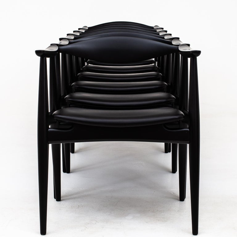 Lacquer Set of 6 Armchairs by Hans J. Wegner For Sale