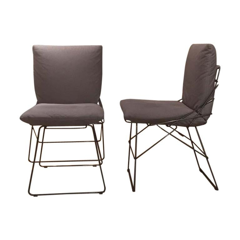 225 & Set of 6 Armless Grey Fabric Dining Chairs Grey Steel Rod Structure by Driade