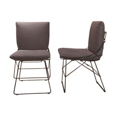 Set of 6 Armless Grey Fabric Dining Chairs Grey Steel Rod Structure by Driade