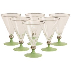 Set of 6 Art Deco Cocktail Glasses