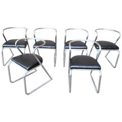Set of 6 Art Deco Machine Age Aluminum Chairs, circa 1940s
