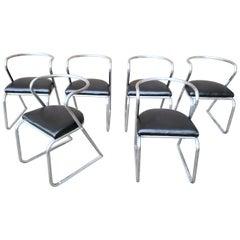 Set of 6 Art Deco Machine Age Aluminum Chairs, circa 1940s