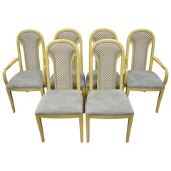 Set of 6 Art Deco Style Cream Upholstered Back Dining Chairs Henredon Attributed
