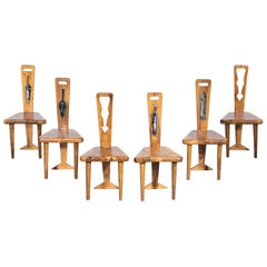 Set of 6 Artisanal Chairs, Olive Wood and Ceramic, 1960s