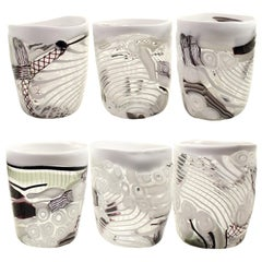 Set of 6 Artistic Handmade Glasses in Murano Glass Inspiration by Multiforme