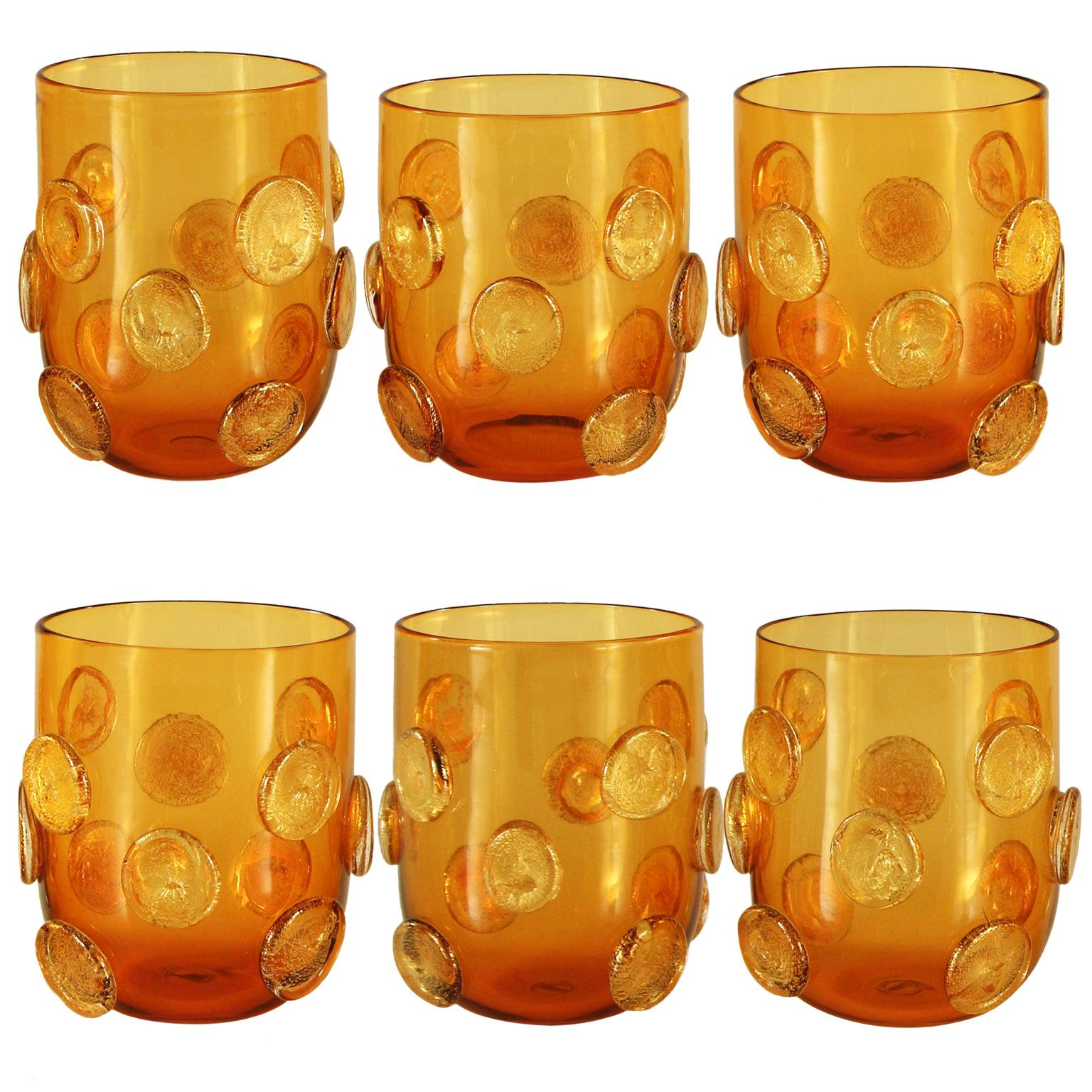 Set of 6 Artistic Handmade Glasses Murano Amber Glass Gold Details by Multiforme
