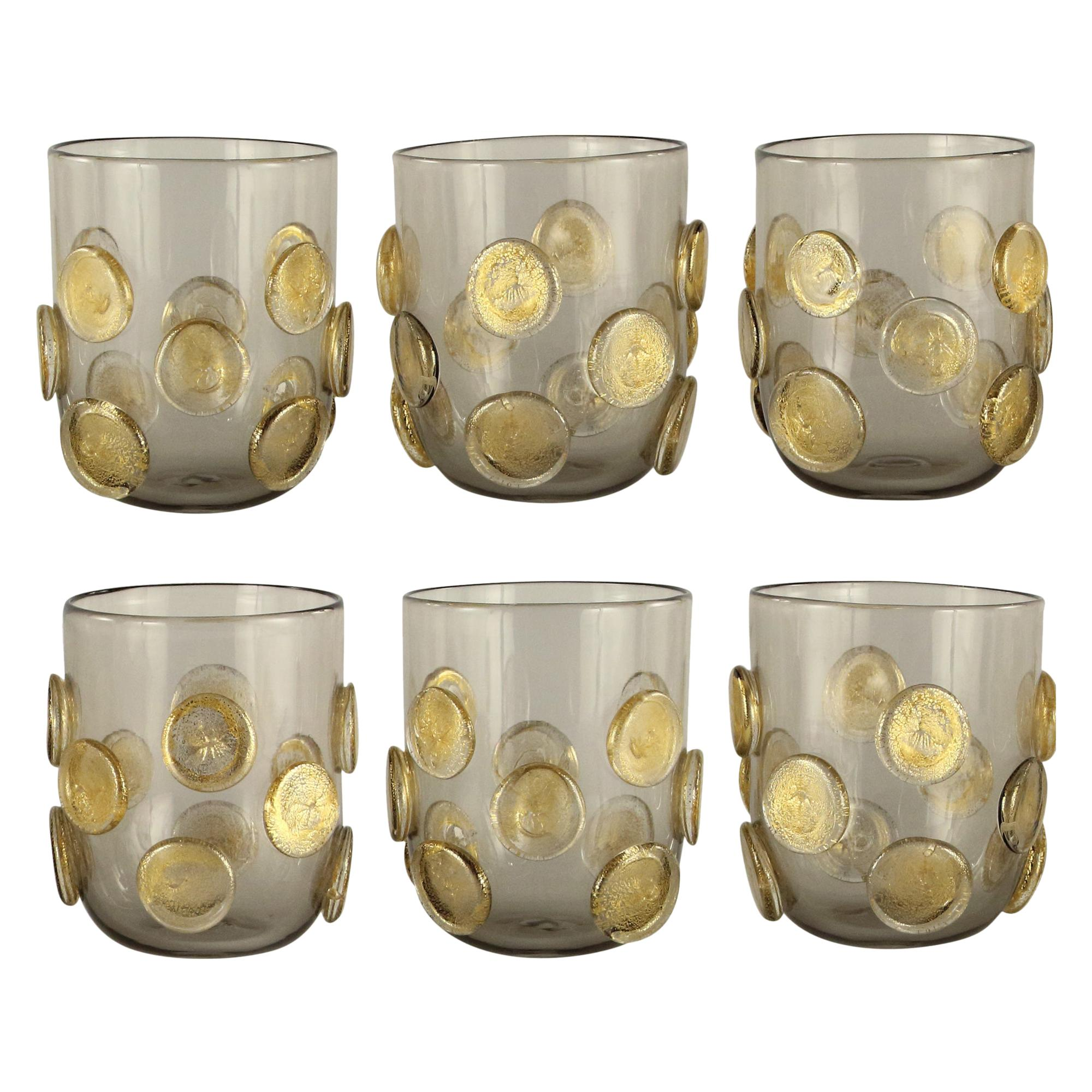 Set of 6 Artistic Handmade Glasses Murano grey Glass Gold Details by Multiforme