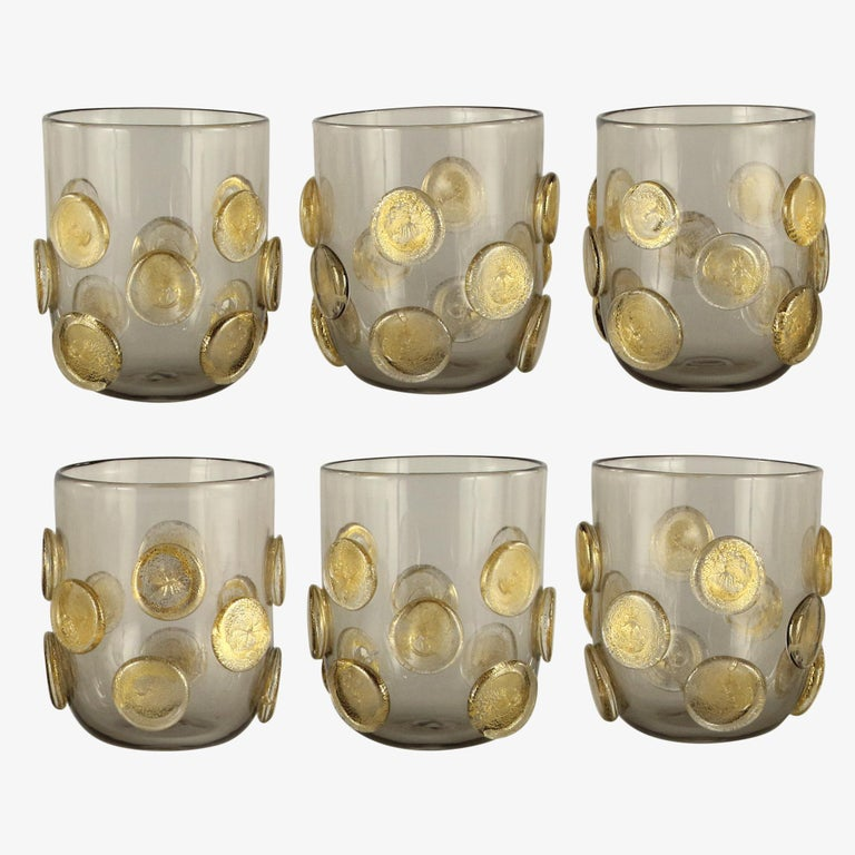 Other Set of 6 Artistic Handmade Glasses Murano Rose Glass Gold Details by Multiforme For Sale