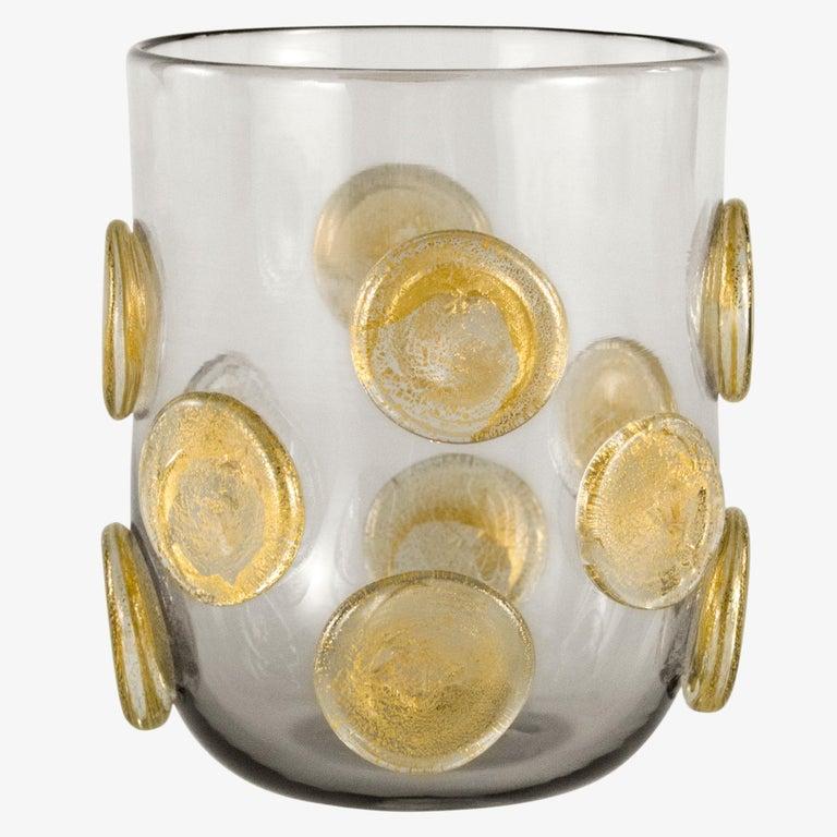 Italian Set of 6 Artistic Handmade Glasses Murano Rose Glass Gold Details by Multiforme For Sale