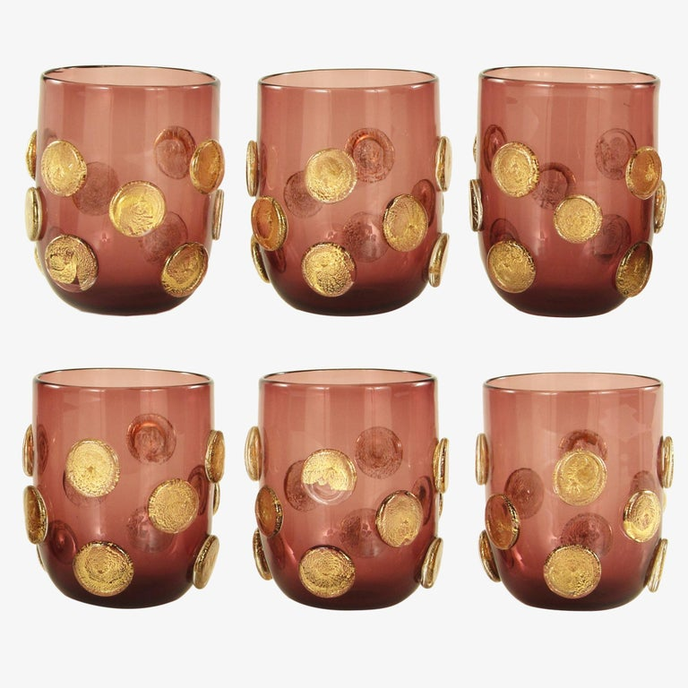 Other Set of 6 Artistic Handmade Glasses Murano Smoky Glass Gold Details by Multiforme For Sale
