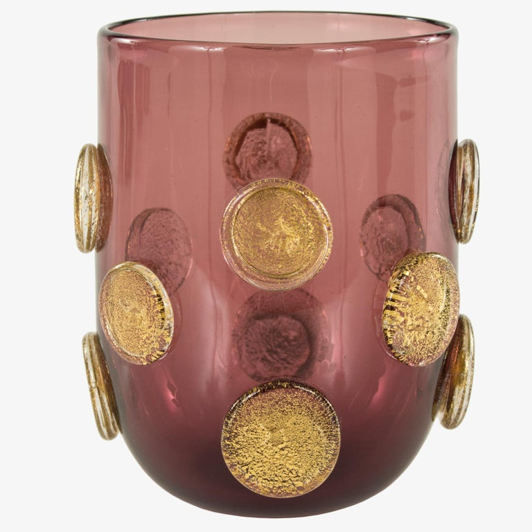 Italian Set of 6 Artistic Handmade Glasses Murano Smoky Glass Gold Details by Multiforme For Sale