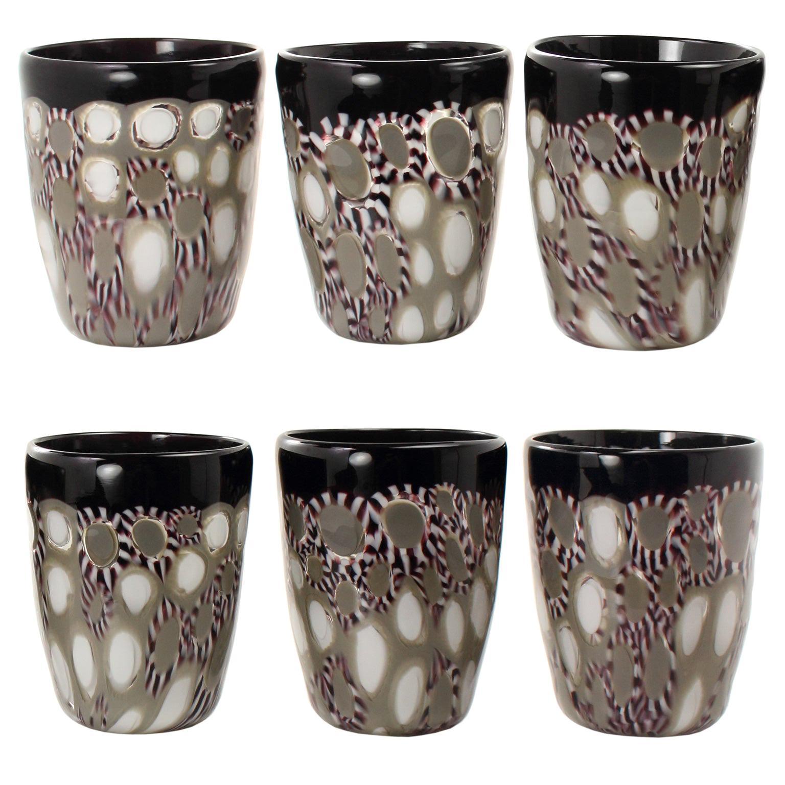 Set of 6 Artistic Handmade Glasses Murano White Black Glass by Multiforme