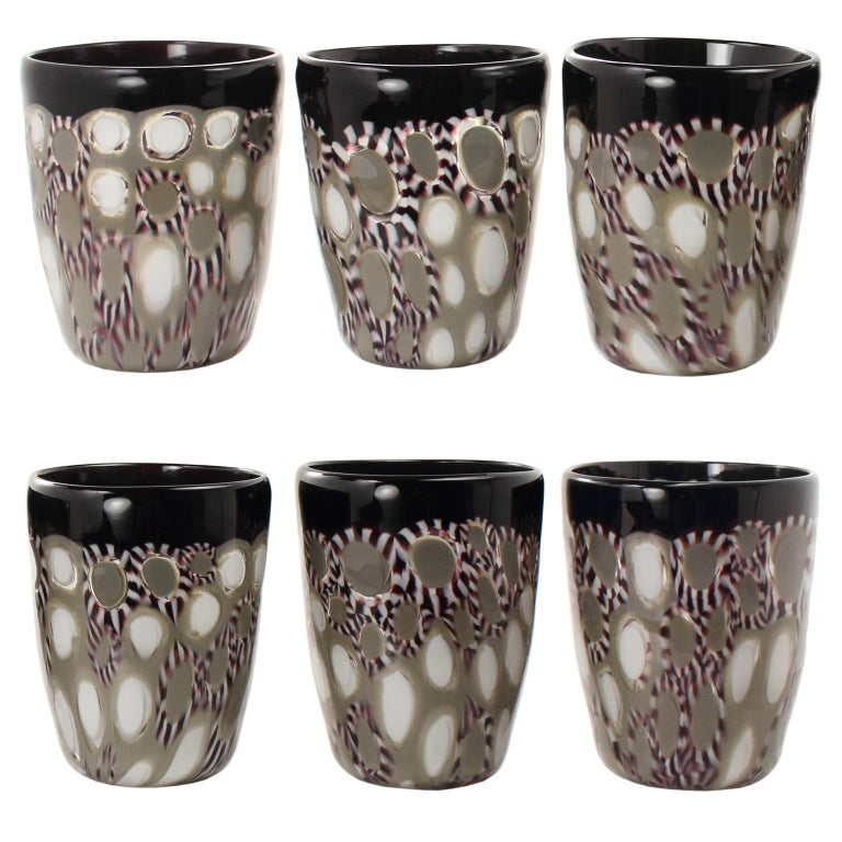 Contemporary Set of 6 Artistic Handmade Glasses Murano White Black Grey Glass by Multiforme For Sale