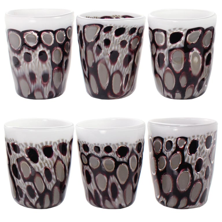 Blown Glass Set of 6 Artistic Handmade Glasses Murano White Black Grey Glass by Multiforme For Sale