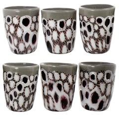 Set of 6 Artistic Handmade Glasses Murano White Black Grey Glass by Multiforme