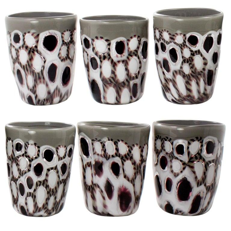 Set of 6 Artistic Handmade Glasses Murano White Black Grey Glass by Multiforme For Sale