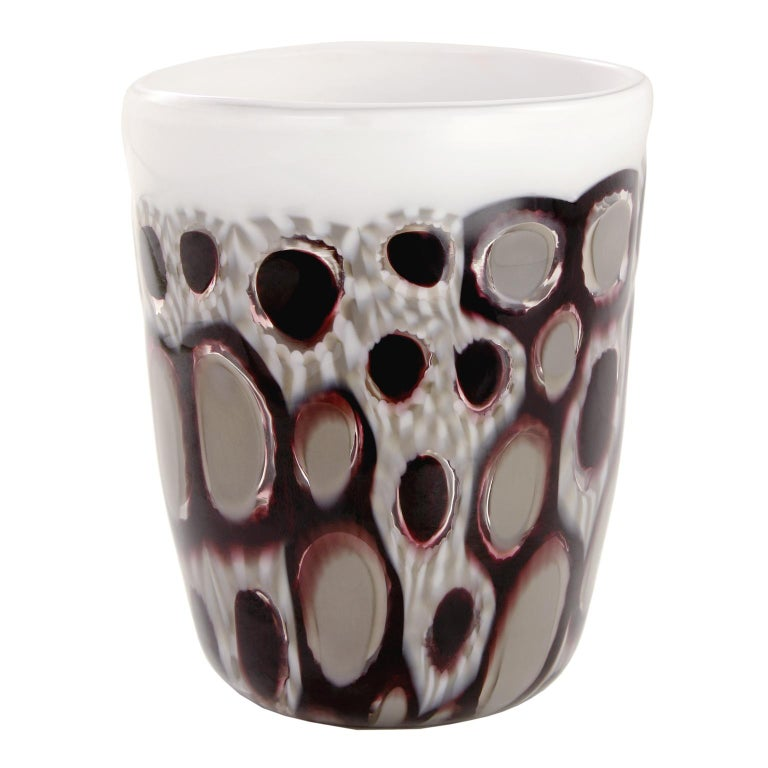 These artistic glasses are handmade by the master artisan using murrine, black and white and white paste border.  Every piece differs one from the other and has a unique combination of these materials.  Precious pieces that can enrich every