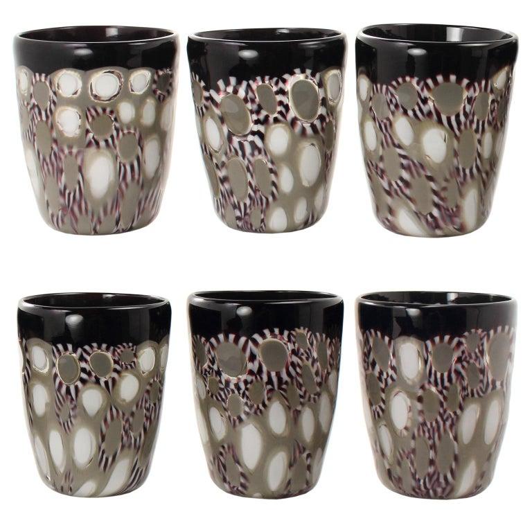 Contemporary Set of 6 Artistic Handmade Glasses Murano White Black White Glass by Multiforme For Sale