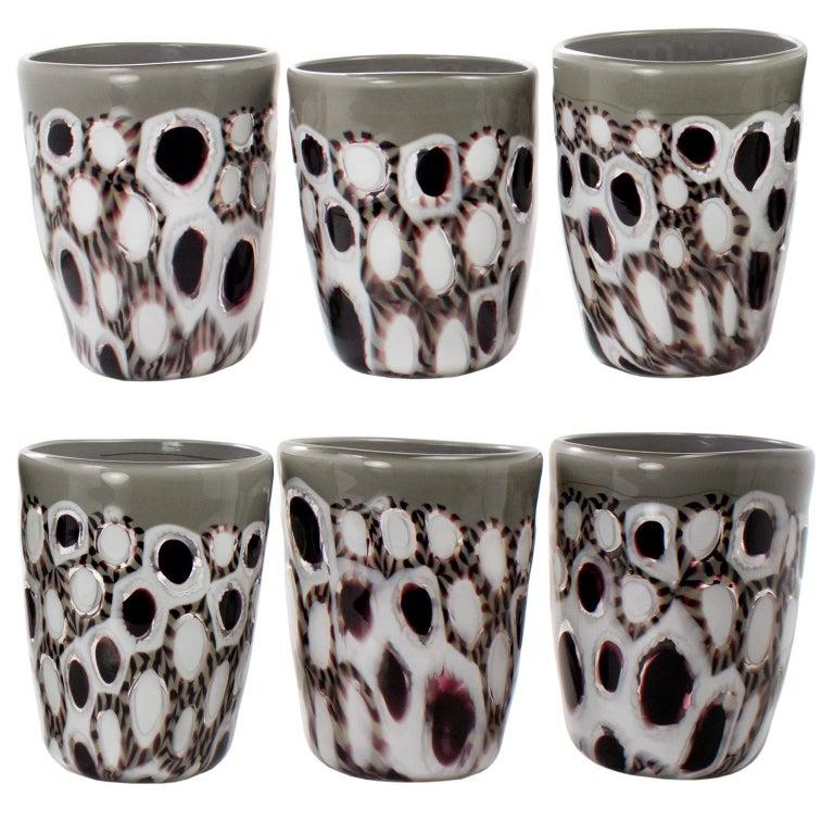 Blown Glass Set of 6 Artistic Handmade Glasses Murano White Black White Glass by Multiforme For Sale